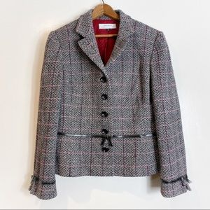 Tahari Tweed Wool Blend Bow Tie Blazer